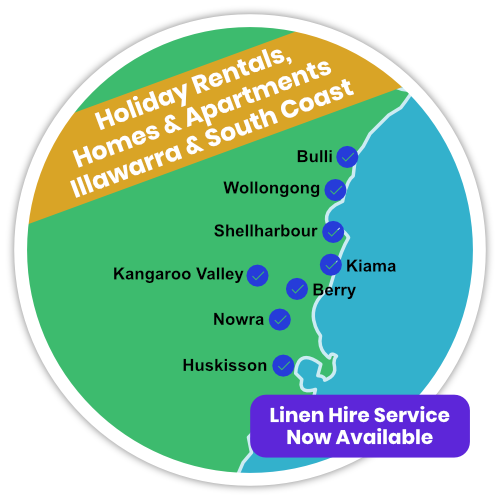 Holiday rental cleaners in Wollongong, Bulli, Shellharbour, Kiama, Kangaroo Valley, Nowra and Huskisson.