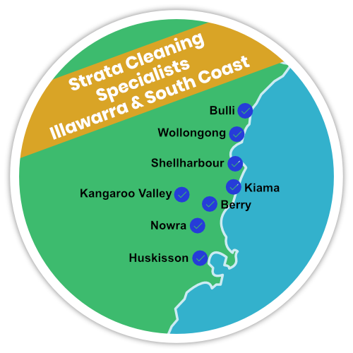 Strata cleaning specialists in Wollongong, Bulli, Shellharbour, Kiama, Kangaroo Valley, Nowra and Huskisson.