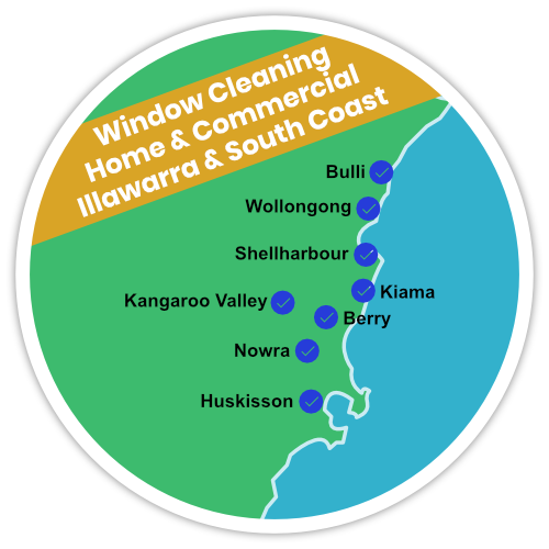 Window cleaning services in Wollongong, Bulli, Shellharbour, Kiama, Kangaroo Valley, Nowra and Huskisson.